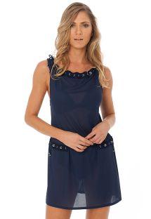 שמלה לחוף הים צבע כחול כהה שקופה מעוטרת בעיניות ואבני חן - EYELET TUNIC NAVY