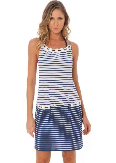 Randig marinblå strandklänning med strassprydda öljetter - EYELET TUNIC NAVY GEOMETRIC