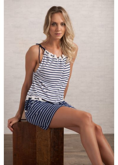 Пляжное платье в морском стиле в полоску со стразами в дырочках - EYELET TUNIC NAVY GEOMETRIC