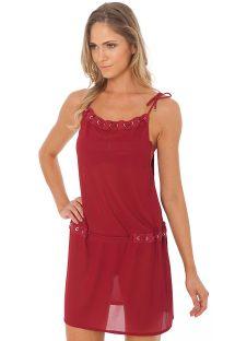 שמלה לחוף הים אדומה ושקופה עם עיניות מעוטרות באבני חן - EYELET TUNIC ROSSO