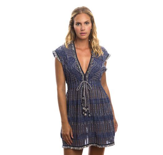 Fringed denim openwork beach dress - FANCY TUNIC