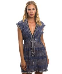 Fringed denim openwork beach dress - FANCY TUNIC