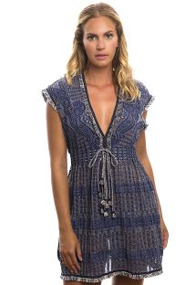 Gefranstes Denim-Strandkleid mit Lochoptik - FANCY TUNIC