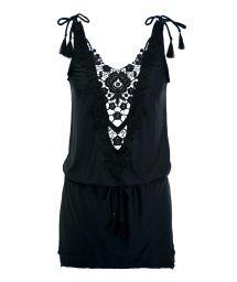 Black mini beach dress with guipure neckline - GUIPIR TUNIC