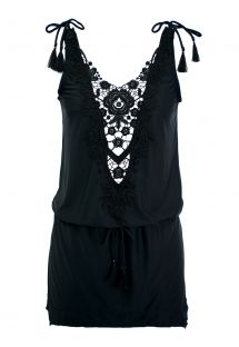 Black mini beach dress with guipure neckline - GUIPIR TUNIC