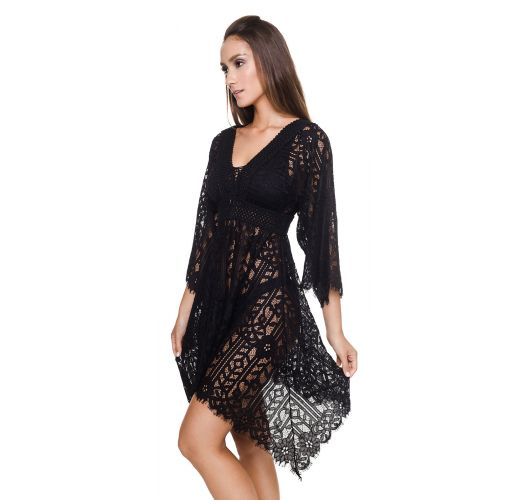 Asymmetrical luxury black beach dress - JILL TUNIC BLACK