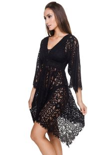 Asymmetrical luxury black beach dress - JILL TUNIC BLACK