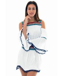 White beach cover-up with macramé inserts - KNITTED TUNIC