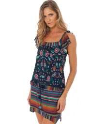 Strandklänning med blandat mönster, blommor/ränder - LOVE TUNIC REGGAE