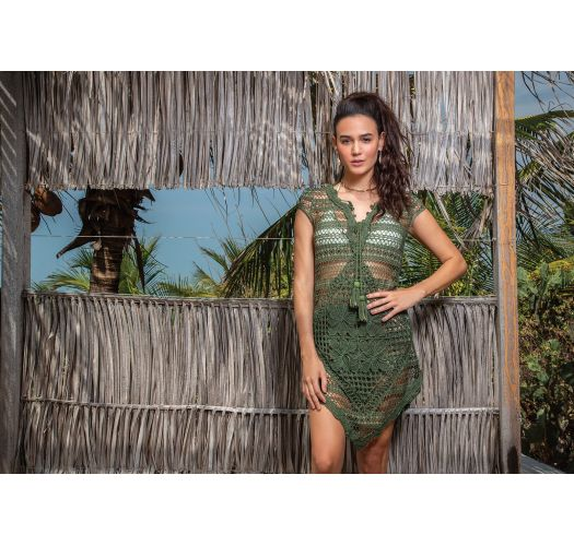 Luxurious dark green crochet beach dress - MACARENA ROSEMARY