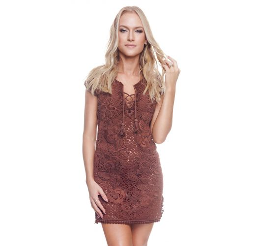 Brown beach dress embroidered with flowers - NEW LISBON TUNIC BROWNIE