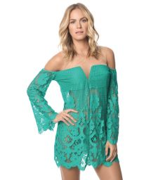 Green lace see-through beach dress - POLYNESIA IBIZA