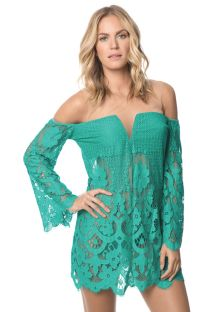 שמלת חוף ירוקה מבד תחרה שקוף - POLYNESIA IBIZA