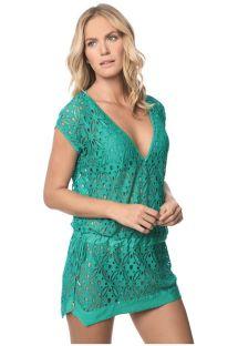 שמלת חוף ירוקה מבד תחרה, עם מחשוף עמוק - POLYNESIA JAVA
