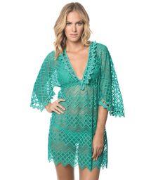 Green lace beach dress, kimono sleeves - POLYNESIA MIRAMARE