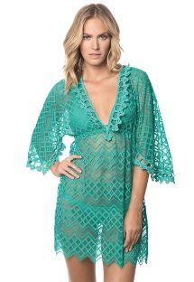שמלת חוף ירוקה מבד תחרה, עם שרוולי קימונו - POLYNESIA MIRAMARE