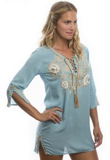 Pale blue flower-embroidered beach tunic - RAJASTHAN POWDER BLUE