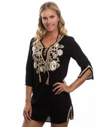 Black beach tunic with embroidered flowers - RAJASTHAN TUNIC
