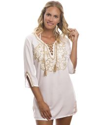 White floral embroidered beach tunic - RAJASTHAN WHITE