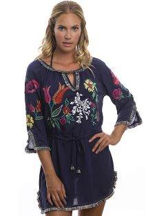 Navy beach dress with embroidered flowers - RAYON TUNIC
