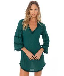 Robe de plage luxe manches longues vert foncé - RUFFLE TUNIC AMAZON