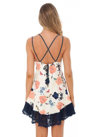Blommig strandklänning med marinblå broderad nederdel - STRING TUNIC HONEY