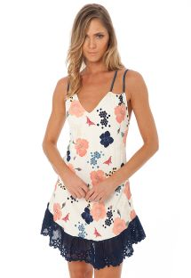 Robe de plage fleurie empiècement marine brodé - STRING TUNIC HONEY