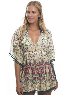 Printed beach kaftan with tassel edging - SUMATRA