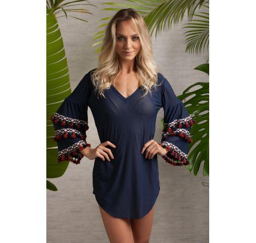 Пляжная туника полуночно-синего цвета с длинными рукавами, украшенными вышивкой - TRIBAL TUNIC SEPIA