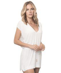 Short white beach dress, lace back - WHITE IT GIRL