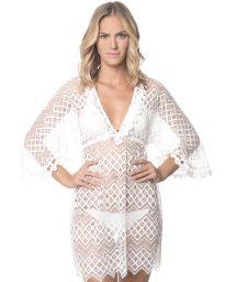 White lace beach dress with kimono sleeves - WHITE MIRAMARE