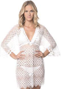 שמלת חוף לבנה מבד תחרה עם שרוולי קימונו - WHITE MIRAMARE