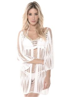 White string beach dress, macramé - WHITE PHI PHI