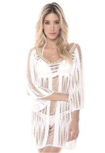 שמלת חוף לבנה מבד פסים, עם מקרמה - WHITE PHI PHI