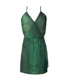 Green crocodile print beach dress - SAIDA CROCO VERDE