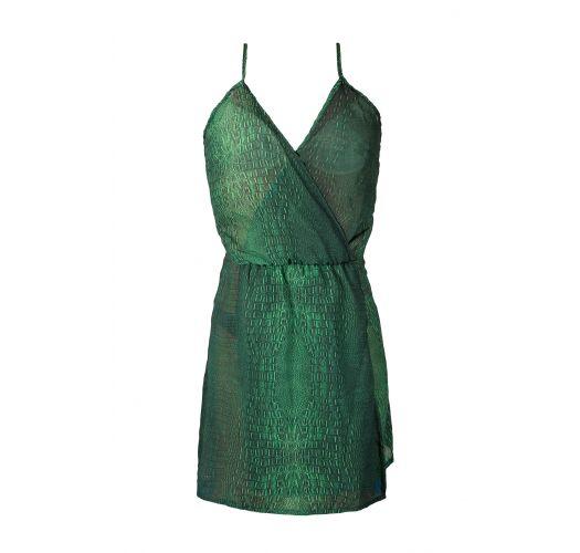 Vestido de praia com padrão verde de crocodilo - SAIDA CROCO VERDE
