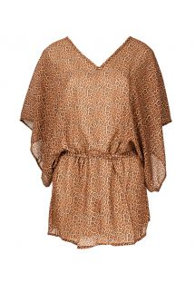 Annimal print beach dress with batwing sleeves - SAIDA JAGUATIRIC