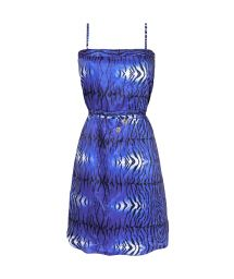 Short blue animal print beach dress - SAIDA TIGRE AZUL