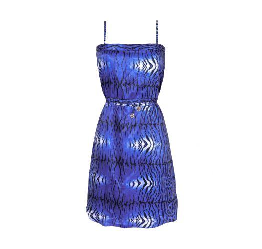 Short blue animal print beach dress - SAIDA TIGRE AZUL