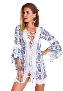 Printed oriental blue beach dress with lace detail - ISABEL INDIAH