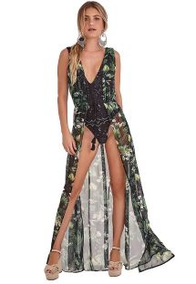 Long and light beach dress with leaves pattern - ROBE FOLHAGEM ESCURA