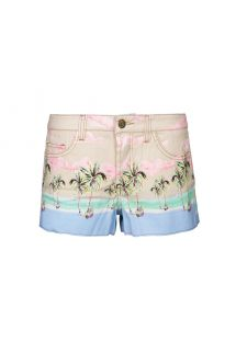Pastel print denim shorts - FLASH COQUEIRAO
