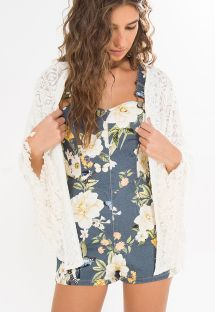 Vit, genomskinlig kimono med fransar - KIMONO BORDADO