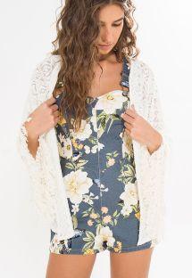 Witte opengewerkte en omzoomde kimono - KIMONO BORDADO
