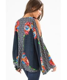 Bare shoulder, flower printed kimono cover-up - KIMONO LENCO