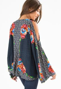 Químono com flores e bolas, ombros nús - KIMONO LENCO