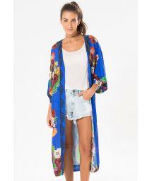 Long blue kimono with colourful flowers - KIMONO PRANE