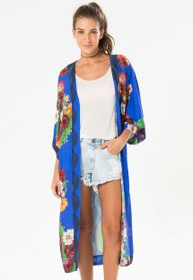Lang blå kimono med farvestrålende blomster - KIMONO PRANE