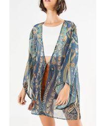 Lightweight abstract blue kimono cover up - KIMONO TRIBANA
