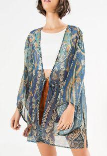Синее прозрачное кимоно с принтом «арабески» - KIMONO TRIBANA